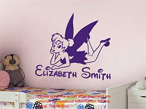 wandaufkleber schlafzimmer Kundenspezifische Namen Tinkerbell personalisierte Mädchen Baby Name Decor Kinderzimmer Home Decor (Disney Wandsticker Für Mädchen)