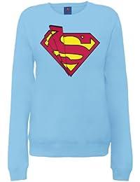 DC Comics Women's Official Superman Shards Logo Crew Neck Long Sleeve Sweatshirt