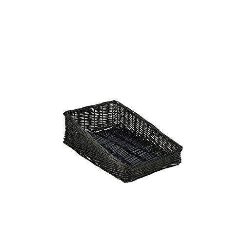 Genware NEV-WDB-4025SBK Panier en osier avec avant de 6 cm 40 x 25 x 12 cm Noir