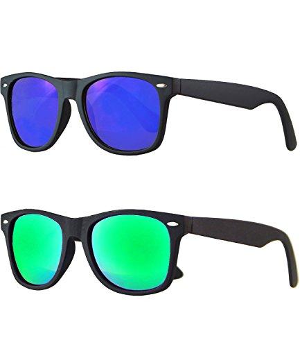 caripe Wayfarer Retro Nerd Vintage Sonnenbrille verspiegelt - SP (2er Set schwarz gummiert - 1 x blau - 1 x bluegreen verspiegelt)