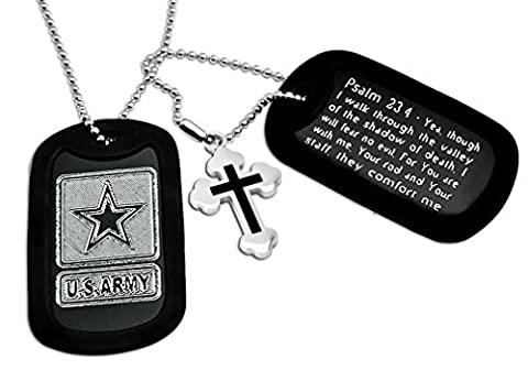 U.S. Army Logo + Psalm 23:4 Bible Verse Inscription Aluminum Dog Tag Necklace by Kriskate & Co.
