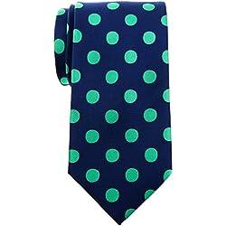 """Retreez Classy Vintage lunares Tejido microfibra 3.15""""hombres de corbata Necktie Azul Navy Blue with Green Dots Talla única"""