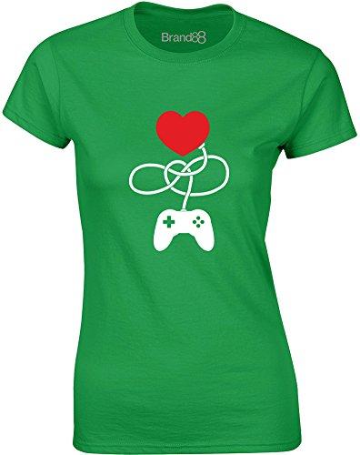 Brand88 - Control My Heart, Gedruckt Frauen T-Shirt Grün/Weiß