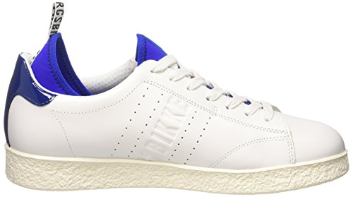 Bikkembergs Best 596 L.Shoe M Leather (with Socks), chaussures basses Homme Blanc Cassé (White/Blue)