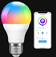 Smart WiFi LED Light Bulb, RGB Color Changing, E27 9W A19, Compatible with Alexa and Google Home