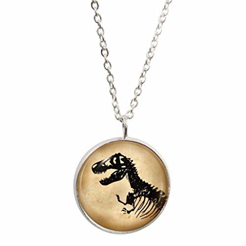 Dinosaurier Skelett Design Anhänger und Silber plattiert Halskette Set