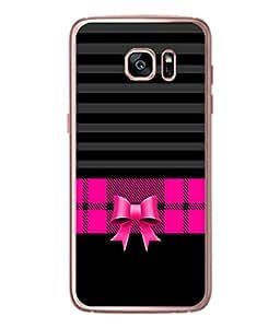 PrintVisa Designer Back Case Cover for Samsung Galaxy S7 Edge :: Samsung Galaxy S7 Edge Duos :: Samsung Galaxy S7 Edge G935F G935 G935Fd (Pink Check Frock Ribbon Stripes Blinds)
