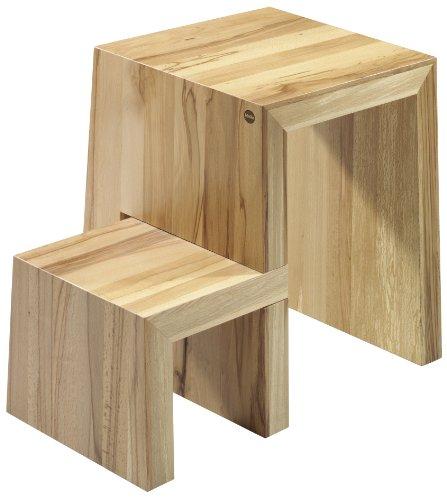 Holz Klapptritt Hocker (Hailo U, Design-Hocker aus Holz, 2 Stufen, zum Sitzen und Steigen, untere Trittfläche um 180° schwenkbar, belastbar bis 150 kg, 4452-001)