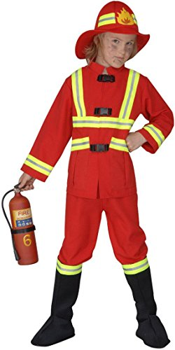 Widmann 55707 - Kinderkostüm Feuerwehrmann, Kasack, Hose, Stiefelbedeckung und leuchtender Helm, Gröߟe 140