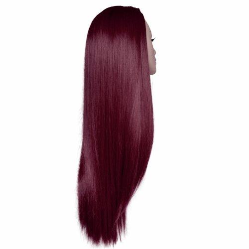 56 cm - Damen 3/4 Perücke Half Fall - Straight - Burgund - Hochwertige hitzebeständige Kunstfaser - Clip In Hair Piece Extension - 250g - Sieht aus und fühlt sich an wie echtes Haar von Elegant Hair