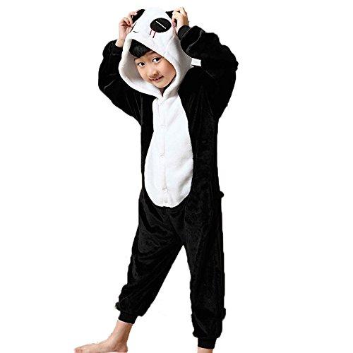 LATH.PIN Unisex Ensemble de Pyjama Combinaison de Nuit Vêtement pour Enfants Bébé Fille Garçon Cartoon Cosplay Costumes Onesie Animaux Cadeau Pour Halloween Noël Anniversaire (Hauteur 140-150cm(Etiquette Tailleur125), Panda)