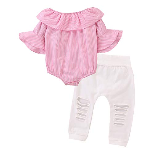 De feuilles Baby Bekleidungssets Mädchen Schulterfrei Streifen T-Shirt Jumpsuit mit Rüschen Ärmeln Zerrissen Hose Mädchenkleidung -