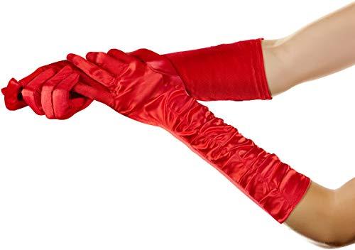 Balinco Lange Glamour Handschuhe in den Farben schwarz, weiß & rot zum 20er Jahre Damen Charleston Kostüm (Rot) (Jahre-kostüm 50er Erwachsene)