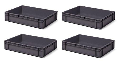 4 Stk. Transport-Stapelkasten TK612-0, grau, 600x400x120 mm (LxBxH), aus PP, Volumen: 22 Liter, Traglast: 40 kg, lebensmittelecht, made in Germany, Industriequalität