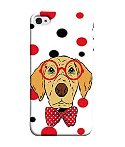PrintVisa Designer Back Case Cover for Apple iPhone SE (Cute Doggy Spectacles And Bow)