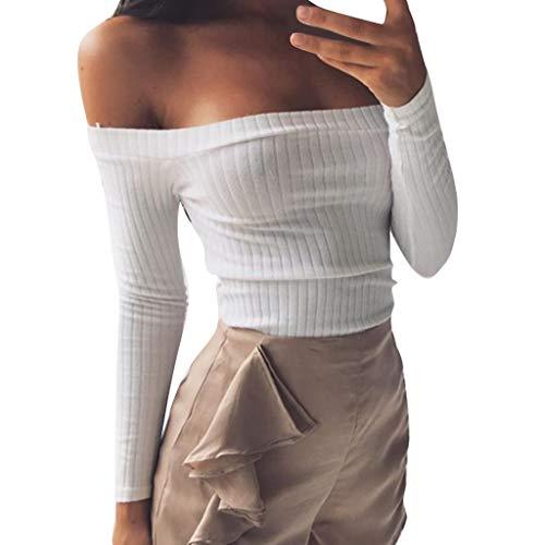 Lucky Mall Mode Frauen Schulterfrei Langarmshirts, Gestreifte Bluse -