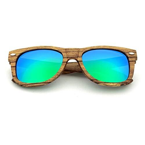 Retro Vintage Sonnenbrille, für Frauen und Männer Women's Vintage Bamboo Driving polarisierte Sonnenbrille for Männer, Outdoor Eyewear UV-Schutz (Farbe : Grün)