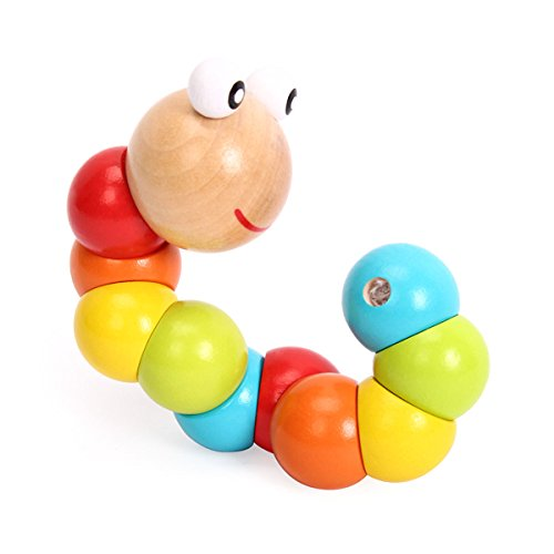 TOYMYTOY 2Pcs Kids Wooden Twist Caterpillars Creative Colored Insects Education Toys for Baby Toddler Children as Gift, Essential baby toys, toys for every developmental stage, baby toys, must have baby toys, the best toys for babies, gift ideas for babies, Christmas baby gift ideas, gifts for babies