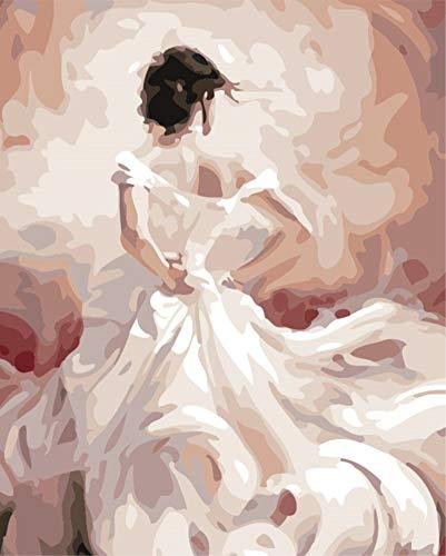 DIY Malen nach Zahlen für Erwachsene Junior Kinder, ABEUTY Mädchen in einem weißen Hochzeitskleid...