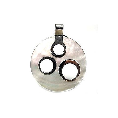 40mm 925m Silber Anhänger Gesetz. Perlmutter durchbrochene Kreise [AA8432]