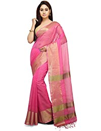 Wooden Tant Bengal Soft Silk Handloom Saree In Pink With Tested Golden Zari Border