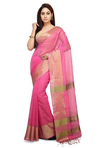 Wooden Tant Bengal soft Silk Handloom saree in Pink with Tested Golden...