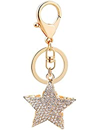 Llavero con forma de estrella, de aleación, para colgar y regalar en cumpleaños, Aleación, Kaffe, 10.8 * 4.5 *…