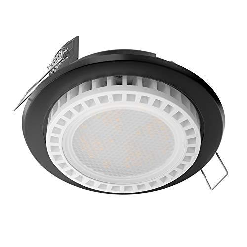ledscom.de LED Foco empotrables Zobe Plano GX53 Negro Redondo 11,5W=62W 830lm Blanca...