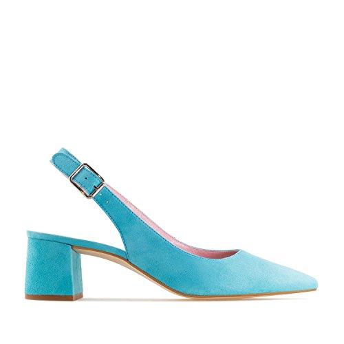 Andres Machado.Irene.Chaussures Talons Ouverts en Daim.Pour Femmes.Petites et Grandes Pointures 32/35 et 42/45.Made In Spain Bleu