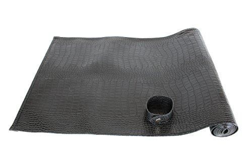 AP-174-A03 Tischläufer, Leder Krokoprint, 150 x 40 cm, Läufer Esstisch, abwischbar, schwarz