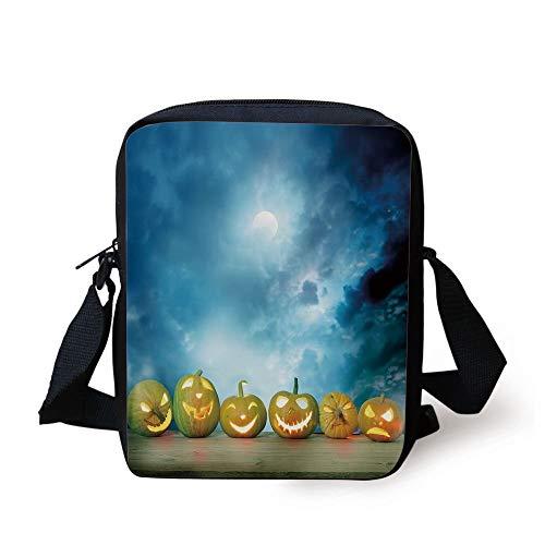 loween Pumpkins on Wood Table Dramatic Night Sky Print Decorative,Dark Blue Light Blue Yellow Print Kids Crossbody Messenger Bag Purse ()