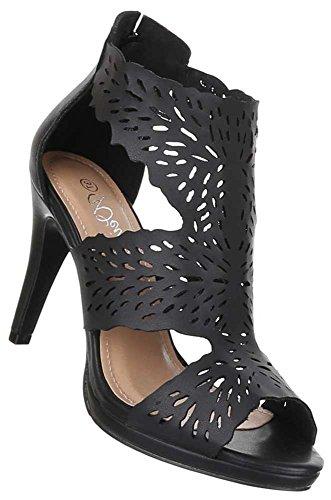 Damen Schuhe Pumps High Heels Sandaletten Schwarz