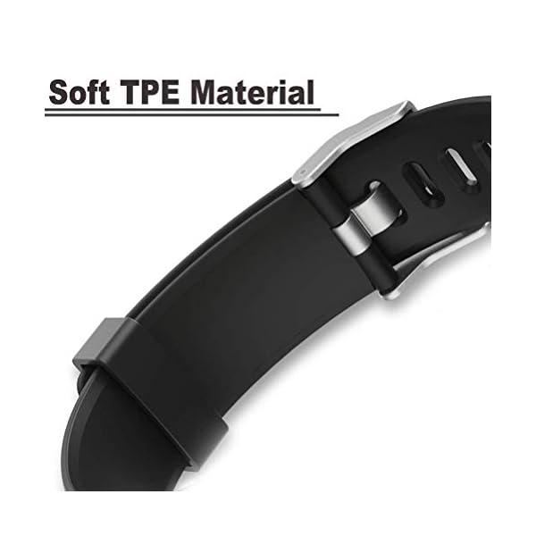 Aitoo® ID115 Plus Correas de Repuesto de TPU para Reloj de Pulsera de Fitness ID115 Plus HR, 5 Colores, Negro/Azul/Morado/Verde/Rosa 4