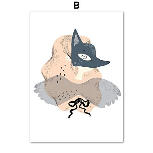 weiaikeke Kein Rahmen Abstrakte Cartoon Mädchen Fuchs Maske Nordic Poster und Drucke Wandkunst Leinwand Malerei Pop Art Wandbilder für Kinderzimmer wohnkultur 40 * 50 cm -