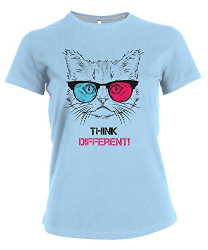 makato Damen T-Shirt Bedruckt mit Motiv Druck Print Think Different Cat Blau Sky Blue L (T-shirt Dunklen Cat-womens)