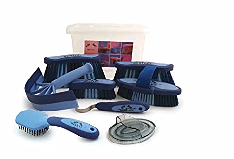 Charles Bentley Slip-Not 9 Piece Equestrian Grooming Kits With Carrying Box - Blue