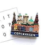 Bella 3D Magneti per FrigoriferoCalamite da Frigo in Resina Viaggio Souvenir del Modo Europa Danimarca Copenhagen Fridge Magnet Sticker