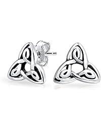 e3ec50d5fcda Bling Jewelry Aretes Dormilonas Stud Pequeños Nudos Celtas Triquetra Plata  de Ley
