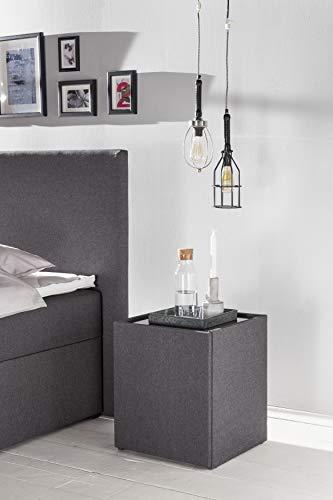 Furniture for Friends Möbelfreude® Nachtkonsole Nele Anthrazit | Nachttisch mit Glasplatte und Zwei Fächern | Idealer Nachtschrank für Boxspringbetten und Polsterbetten