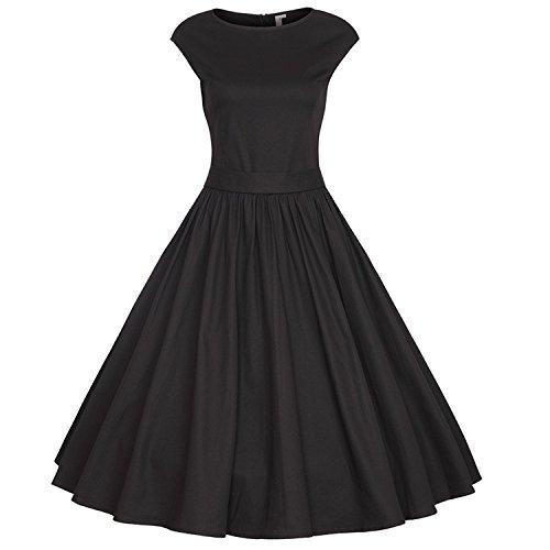 iHAIPI - Damen Audrey Hepburn 50s Retro Vintage Bubble Skirt Rockabilly Swing Evening Kleider Weiß / Schwarz (04. EU 40 (Herstellergröße:L), (N Kostüme Rock 60 Roll)