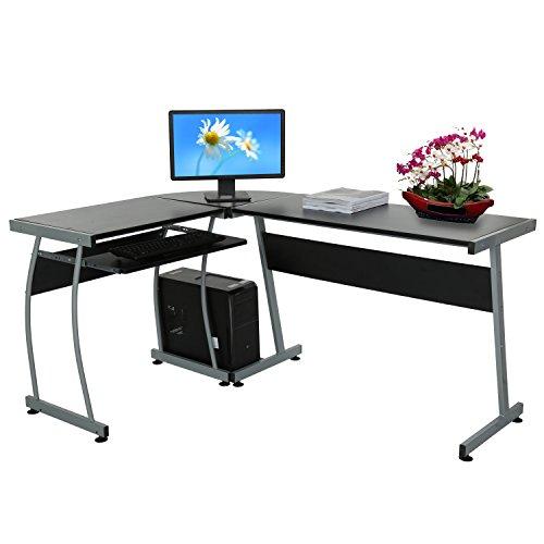 Befied L-förmige Ecke Computer-Tisch PC-Arbeitsplatz Büro-Schreibtisch mit Host Rack und Tastaturauszug 148 x 112,5 x 74cm (L-förmige Sofas)