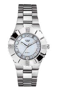 Guess I90192L1 - Reloj analógico de cuarzo para mujer con correa de acero inoxidable, color plateado de Guess