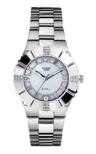Guess I90192L1 - Reloj analógico de Cuarzo para Mujer con Correa de Acero Inoxidable, Color Plateado