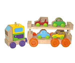 camion avec 4 voitures en bois b b s pu riculture. Black Bedroom Furniture Sets. Home Design Ideas