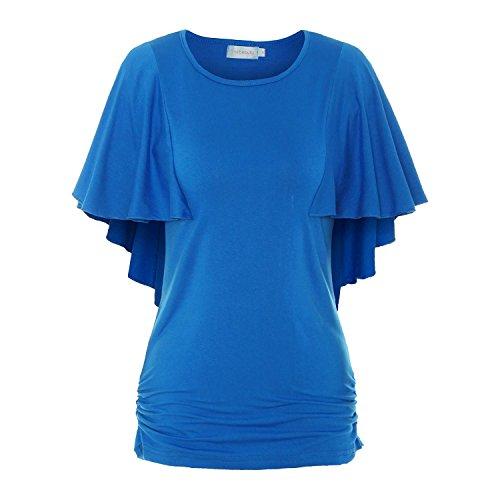 ReliBeauty Damen Boot Ausschnitt Shirring T-Shirts Kurzarm Falten Volant Dolman Schmetterling Ärmel Einfarbige Tunika Tops, Royal Blau, 40