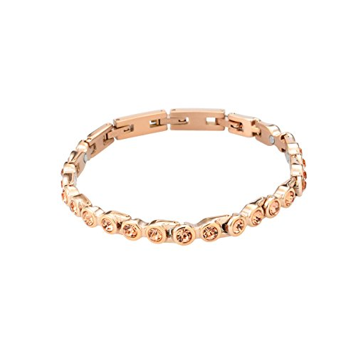 Original Tennis Energie Sport Magnetarmband rose golden/Peach Swarovski® Kristalle Energetix-4you 473 L/XL