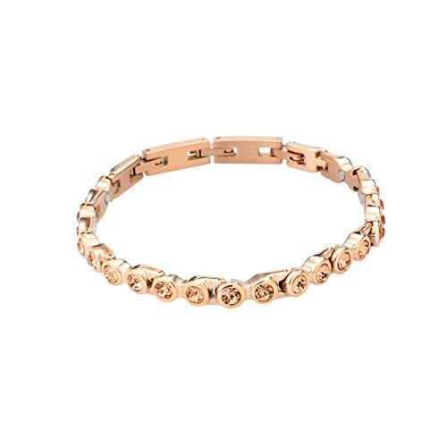 Original Tennis Energie Sport Magnetarmband rose golden/Peach Swarovski® Kristalle Energetix-4you 473 S/M
