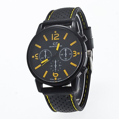 Fashion Watches Schöne Uhren, 2016 Ankunft Modernen Sport Freizeit Mannarmbanduhr Silikonband Armbanduhr Mann (Farbe : Gelb, Großauswahl : Einheitsgröße)