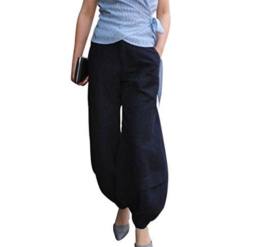 YuanDian Femme Automne et Hiver Baggy Pantalons Baggy Sarouel Grande taille Confort Pantalons Marine Profonde