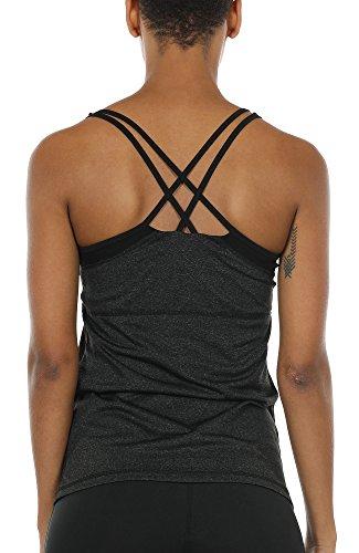 icyzone Damen Fitness Trainings Shirt mit BH - X Rücken Sport Gym Top Oberteile (S, Black)
